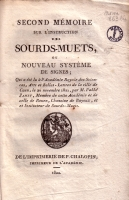 Second mémoire sur l'instruction des sourds-muets (p. de titre)
