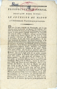 Le Courrier de Madon (1789) - Propectus